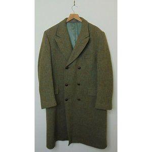 Harris Tweed 44L Scottish Wool Trench Coat Green